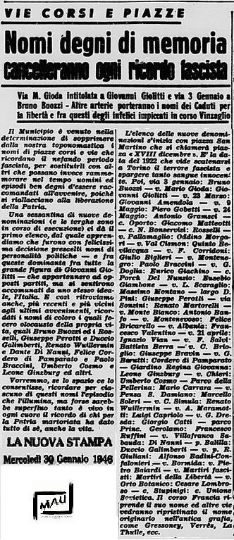 stampa 1946 nuovi nomi delle vie